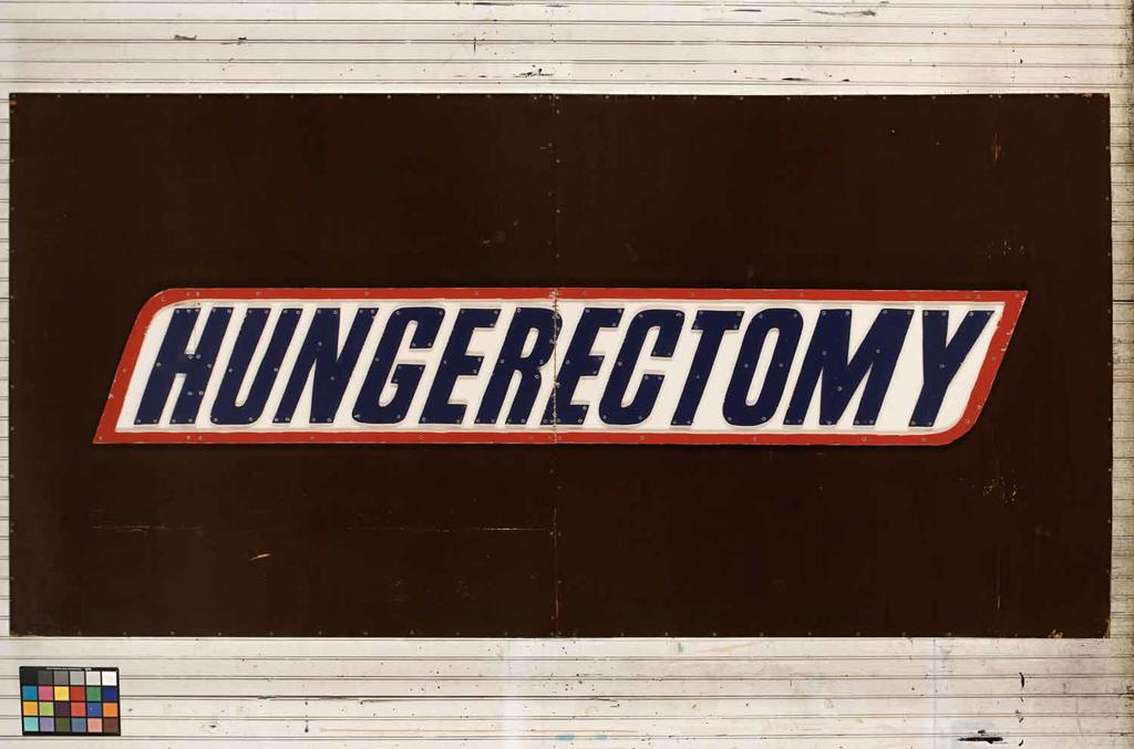 hungerectomy, 2006, synthetic polymer and epoxy resin on plywood, with steel screws, 304.8 X 152.4 X 9.5 cm