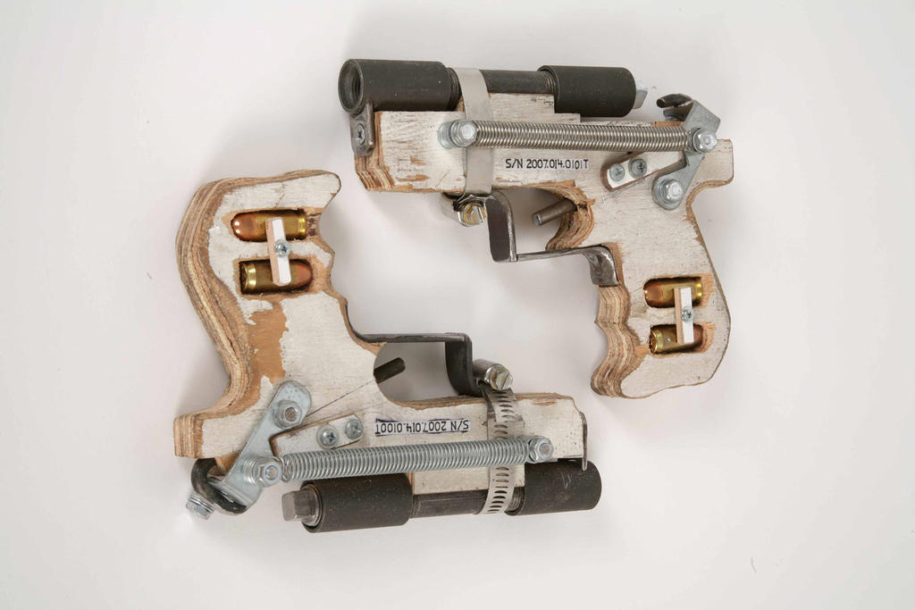 LEM: ATF: MSA: Hand Gun, .45 Caliber, Breech-loading, Handmade 2007 mixed media 6 x 8 x 1 inch