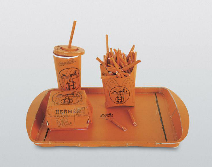 "Hermés Value Meal 1997 cardboard, thermal adhesive 15.35"" x 7.87"" x 7.87"""