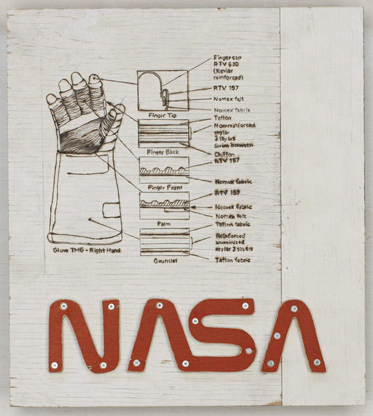 Glove, Right Hand 2007 pyrography, plywood, latex 23.5 x 22 x 5 inches